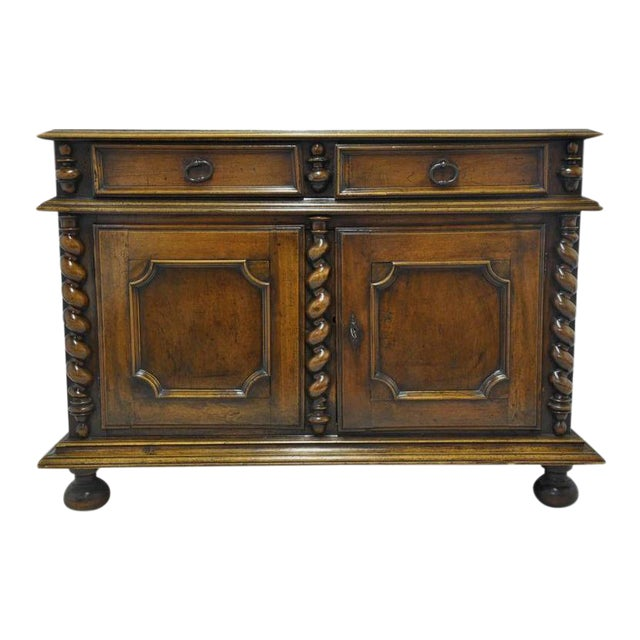 French Louis XIII Carved Walnut Buffet For Sale