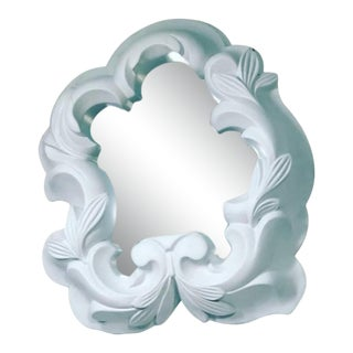 White Plaster Mirror in the Manner of Serge Roche For Sale
