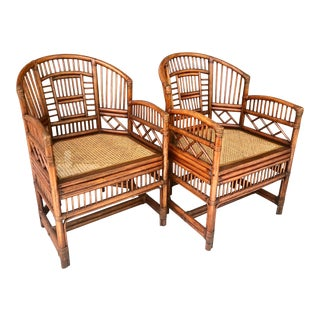 Pair Brighton Pavilion Style Bamboo Chairs For Sale