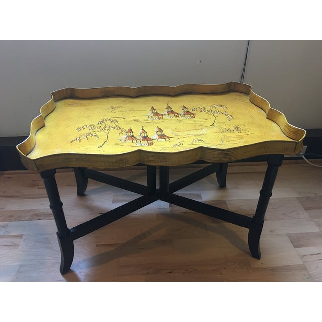 Yellow Pagoda Tole Tray Table - Image 2 of 7
