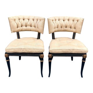 Pair of Hollywood Regency Black & Gold Klismos Chairs For Sale