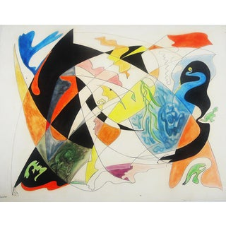 1925 Vintage Georgina Klitgaard Abstract Composition Painting For Sale