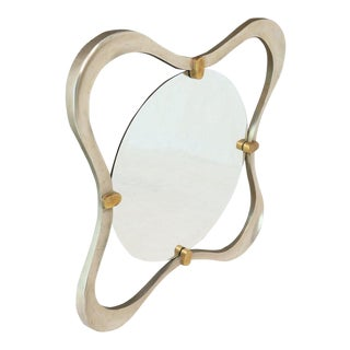 Silver Gold Leaf Free Organic Form Frame Round Beveled Wall Mirror For Sale