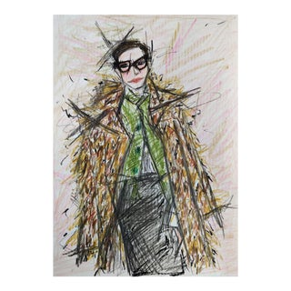 Color Pencil Portrait of Jenna Lyons on A4 Hahnemühle Paper by Shirin Godhrawala ,2020 For Sale