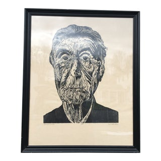 Oversize Woodblock Print Portrait of Georgia O'Keefe by M. Sweet Welch For Sale