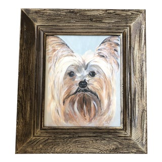 Mid Century Original Yorkie Dog Portrait Painting by Rich Mills For Sale