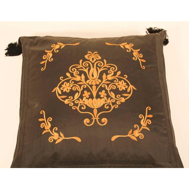 Embroidered Black Silk Decorative Throw Pillow with Tassels For Sale - Image 4 of 11