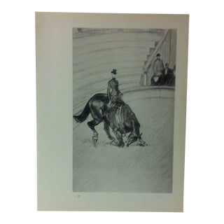 """Circa 1980 """"At the Circus the High-Riding School 1899"""" Print of a Toulouse-Lautrec Drawing For Sale"""
