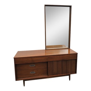 1960s Mid Century Modern Mainline by Hooker Dresser and Mirror With Reversible Doors For Sale
