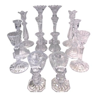 Candle Holders Crystal Clear Vintage Assorted Brands - 8 Pairs Mixed Lot of 16 For Sale