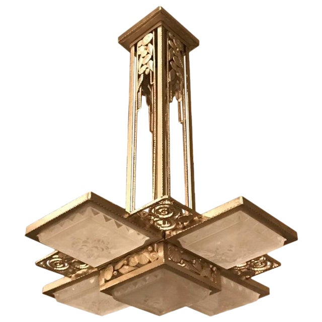 French Art Deco Geometric Chandelier Signed by Muller Frères Luneville For Sale