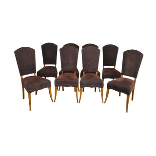 Custom Upholstered Set of 8 French Art Deco Style Dining Chairs For Sale