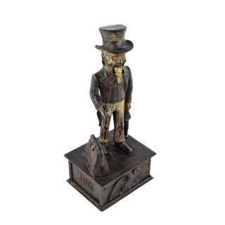 19th Century Antique Uncle Sam Cast Iron Coin Bank For Sale