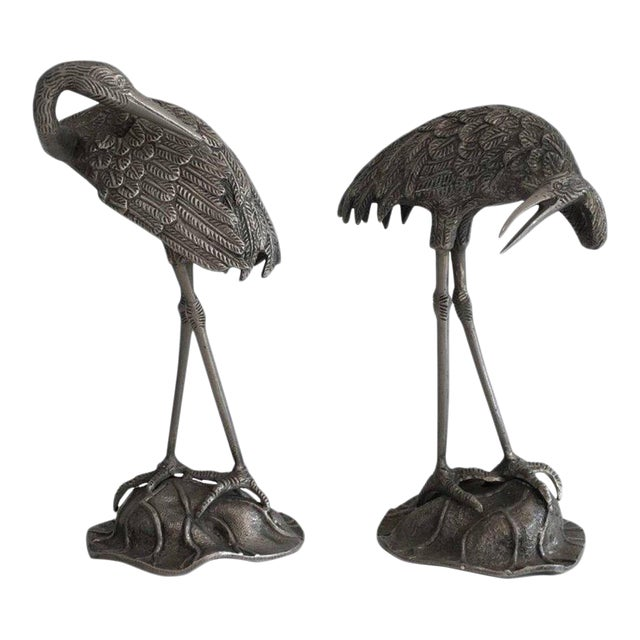 Pair of Silvered Bronze Stork Statues, Attributed to Maison Baguès For Sale