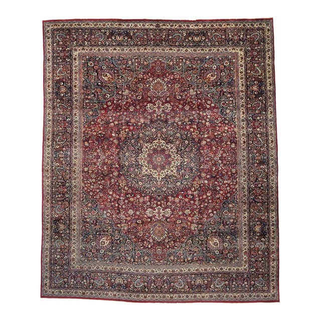 Antique Persian Mashad Rug with Art Nouveau Style For Sale