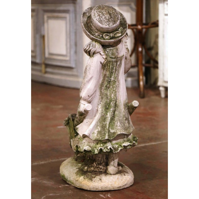 Gray 19th Century French Weathered Cast Concrete Garden Girl & Wheelbarrow Sculpture For Sale - Image 8 of 12