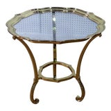 Image of Vintage Mid Century Labarge Style Hollywood Regency Glass Top Side Table For Sale