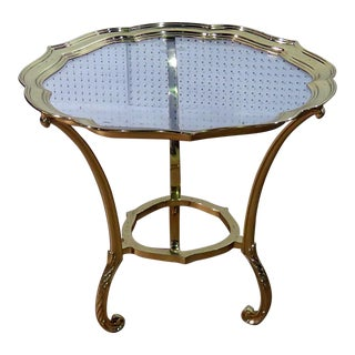 Vintage Mid Century Labarge Style Hollywood Regency Glass Top Side Table For Sale