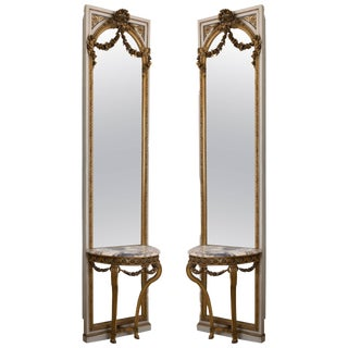Pair of French Parcel-Gilt and Painted Consoles and Mirrors, 19th Century For Sale