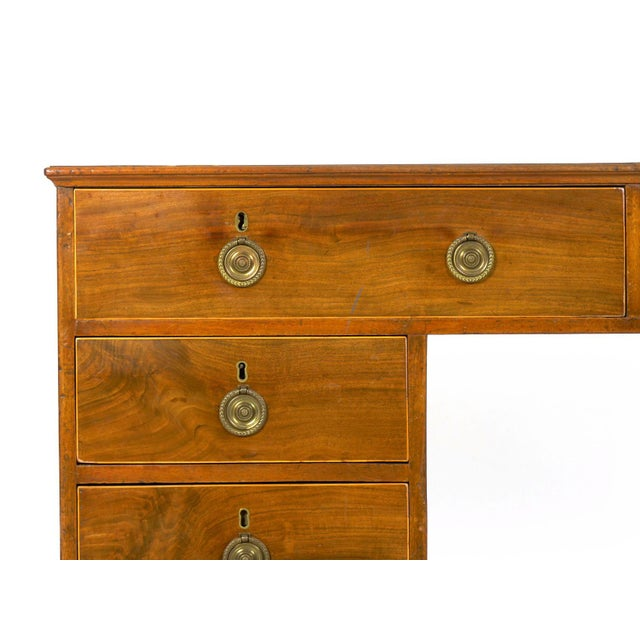 Green 19th Century English Antique Mahogany and Leather Pedestal Desk For Sale - Image 8 of 13