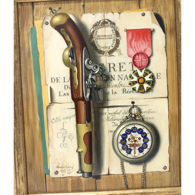 Realism Mid-Century 1955 Charles Cerny Trompe l'Oeil Oil Painting For Sale - Image 3 of 13