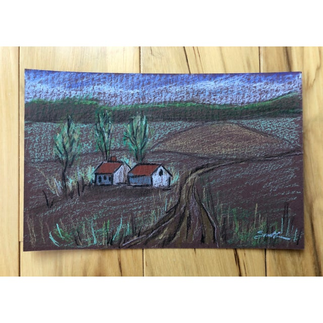 """2010s Nancy Smith """"Countryside"""" Colored Pencil Drawing For Sale - Image 5 of 5"""