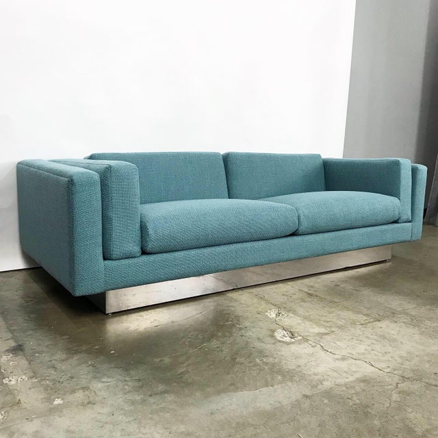 Modern Modern Sofa With New Upholstery & a Chrome Plinth Base by Metropolitan Furniture For Sale - Image 3 of 11