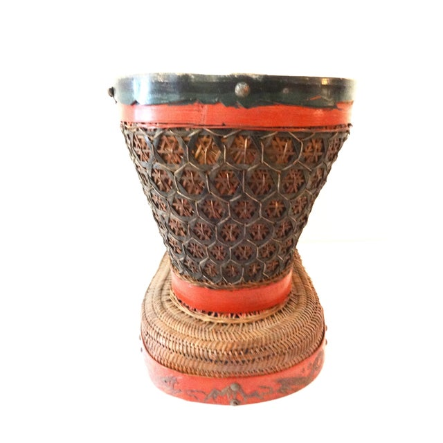 Antique Red & Brown Chinese Wedding Basket For Sale - Image 4 of 7
