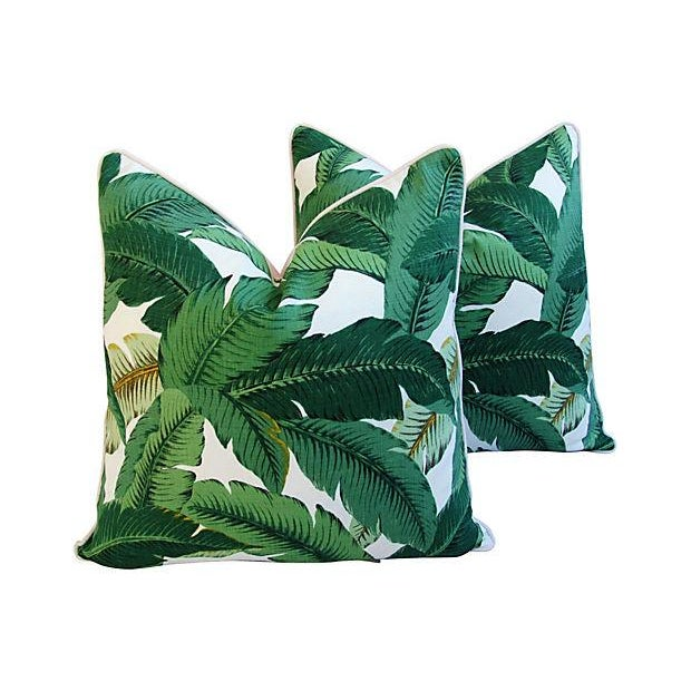 Green Banana Leaf Feather/Down Pillows - A Pair For Sale - Image 8 of 11