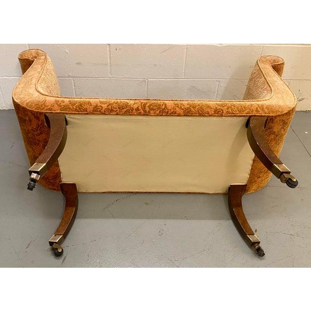 1980s Vintage Swaim Regency Peach Velvet Damask Upholstered Scroll Arm Curvy High Side Bench on Casters For Sale - Image 9 of 12