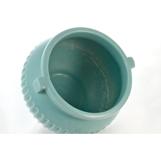 Mid 20th Century Aqua Fluted Catchall For Sale - Image 5 of 6