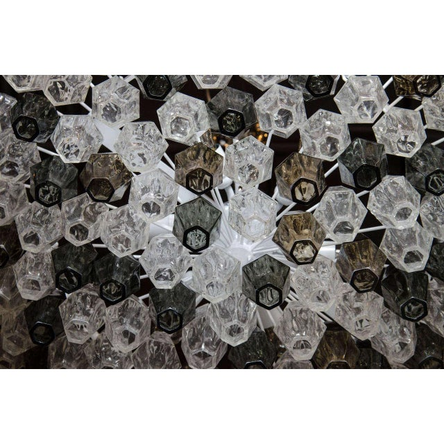 Glass Pair of Spectacular Handblown Murano Glass Polyhedral Chandeliers by Venini For Sale - Image 7 of 8