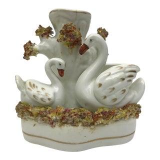 C.1880 Staffordshire Swans Spill Vase For Sale