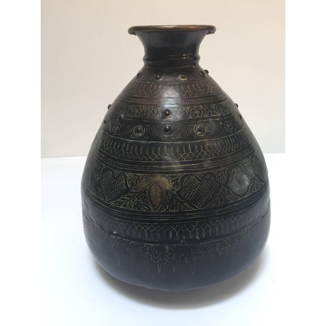 Large Indian Hand-Hammered Copper Jug With Asian Carvings For Sale - Image 4 of 13