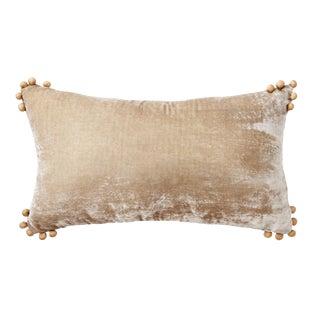 Omni Taupe Silk Velvet Lumbar Pillow