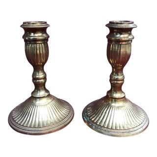 Vintage Solid Brass Candlestick Holders - A Pair For Sale