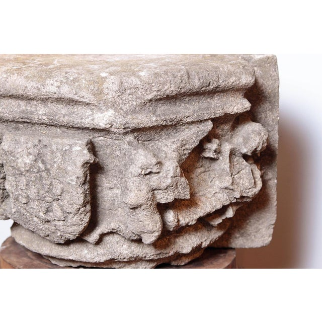 Rare 16th Century Architectural Stone Capital From France For Sale - Image 4 of 10