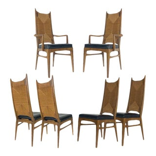 Mid-Century Organic Modern Rush Back Dining Chairs, 1960s - Set of 6 For Sale