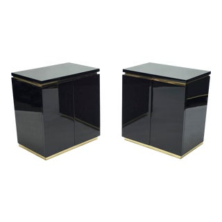 Pair of Small Black Lacquer Cabinets Night Stands by j.c. Mahey 1970s For Sale