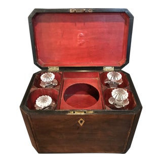 Antique English Mahogany Decanter Box For Sale