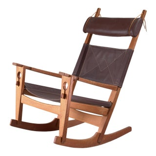 Hans Wegner Key Hole Rocking Chair in Original Brown Leather For Sale