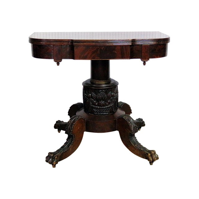 Antique Traditional Duncan Phyfe Style Card Table For Sale - Image 10 of 10