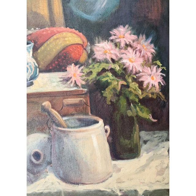 1960s 1960s Vintage Sharon Johnson Oil on Canvas Still Life Painting For Sale - Image 5 of 7