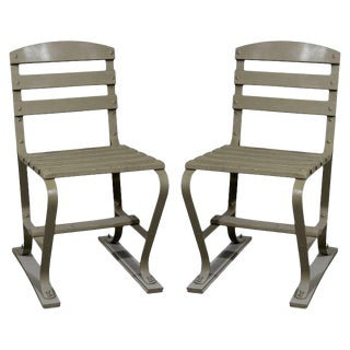 20th Century Americana Wood and Metal Garden Chairs - a Pair For Sale