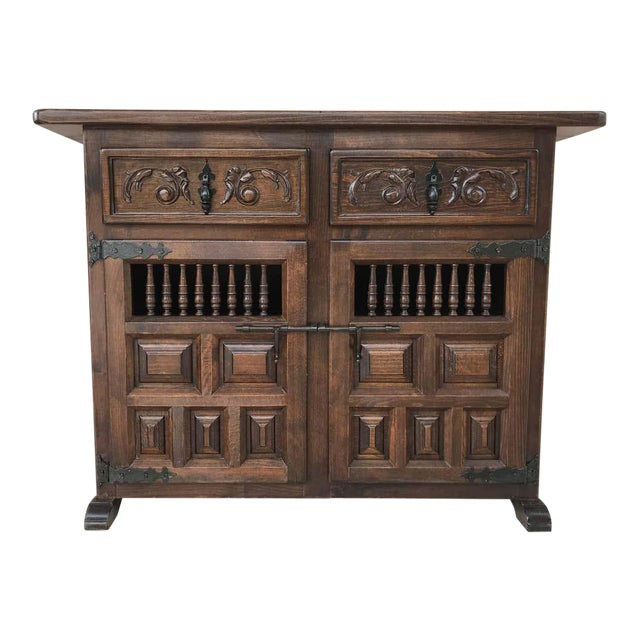20th Century Spanish Carved Dark Walnut Tuscan Two Drawers Credenza or Buffet For Sale
