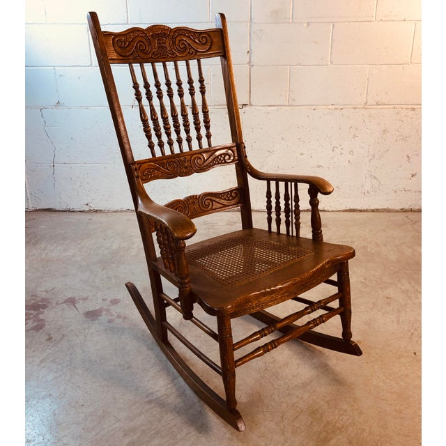 Quarter-Sawn Oak Hand Carved Rocking Chair For Sale - Image 4 of 13