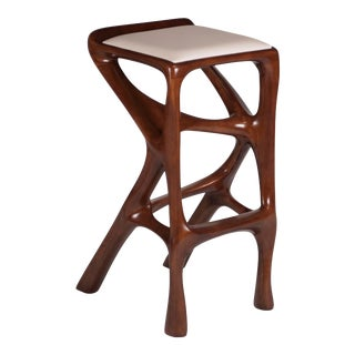 Modern Barstool Solid Wood With White Leather and Stained Walnut For Sale