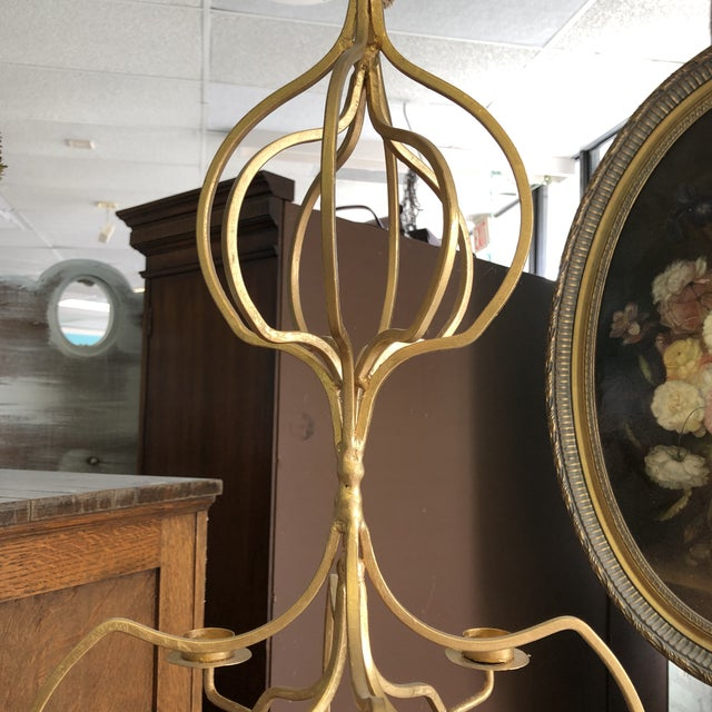Gold Contemporary Hanging 4-Candle Candelabra For Sale - Image 4 of 7