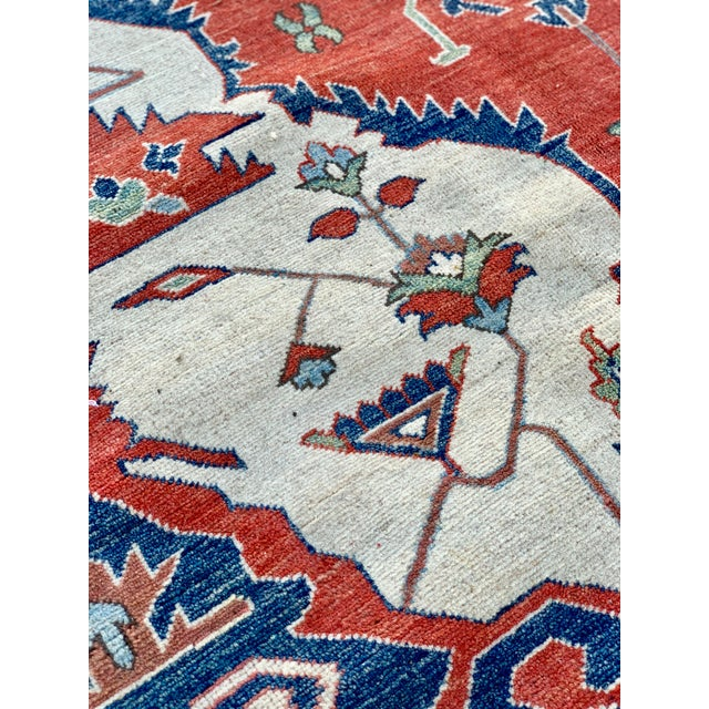 Orange 1990s Persian Serapi Rug - 10′ × 13′9″ For Sale - Image 8 of 13