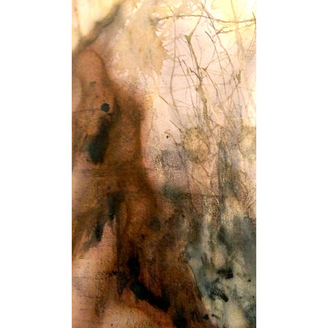 Mid Century Abstract Landscape Watercolor & Ink - Image 4 of 10